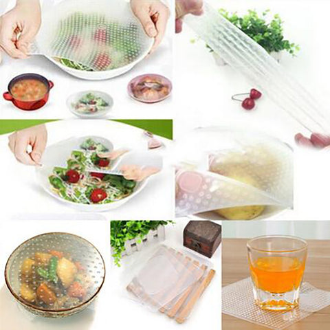 Silicone Food Wraps 4 pcs/set in 3 sizes Multifunctional Seal Food Cover