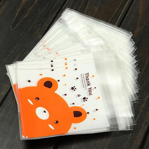 100PCS Packaging Bags Cute Cartoon Bear Print Gifts Plastic Clear Letter Holder Craft