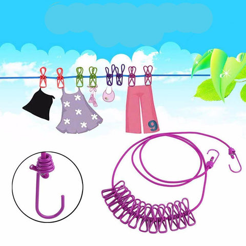 6 Colors Portable Outdoor Travel Windproof Clothes Line Drying Rack 12 Clamp Clip Socks Underwear Clothing Holder Hanging