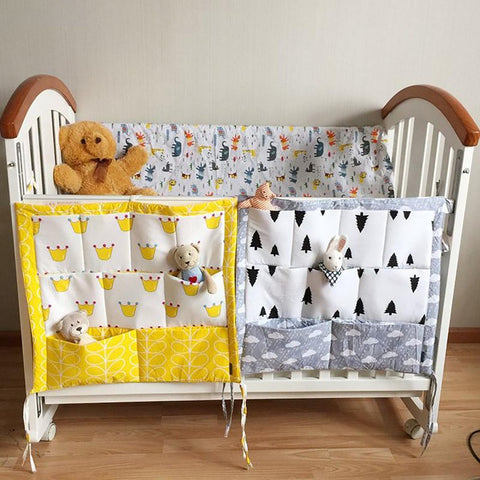 Muslin Tree Bed Hanging Storage Bag Baby Cot Brand Cotton Crib Organizer 60*50cm Toy Diaper Pocket for Bedding Set