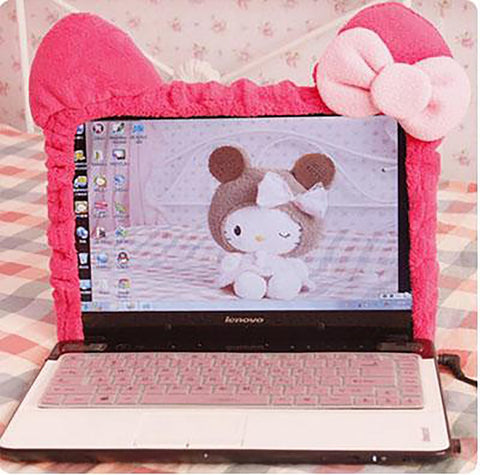 Computer Screen Cover Kitty Cat Cartoon Elastic Dust Proof Protective