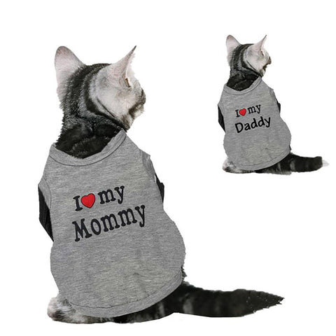Cute Cat Clothes Cotton Shirt For Cats Spring Summer Costume Pet Clothing Vest Love Mommy Daddy S1
