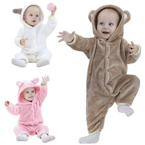 Unisex Baby's Hooded Pijama Romper Soft Flannel Warm