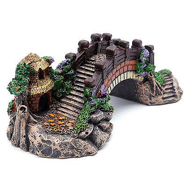 Aquarium Decoration Fish Tank Bridge Landscape Ornaments Pavilion Tree Resin New