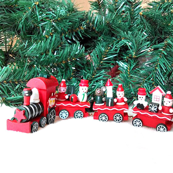 Cute Xmas Wooden Little Train Santa Claus Navidad Natal Trains Ornament Decoration Decor Kids Gift for Christmas Tree Ornaments