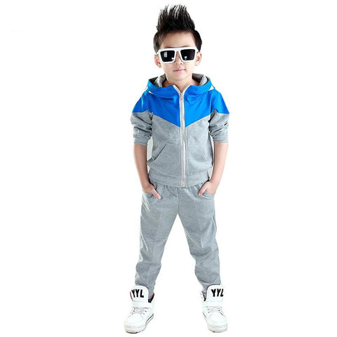 Boy's Hoodie Coat with Pants Set Autumn Korean Style Sports