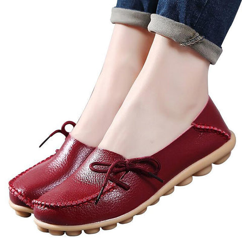 Women's Leather Shoes Flat Lace-up Breathable