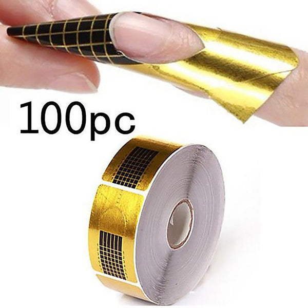 Nail Extension Sticker U Shape FRench Guide Form Polish Gel Tips Gold Manicure Styiling 100pcs/pack