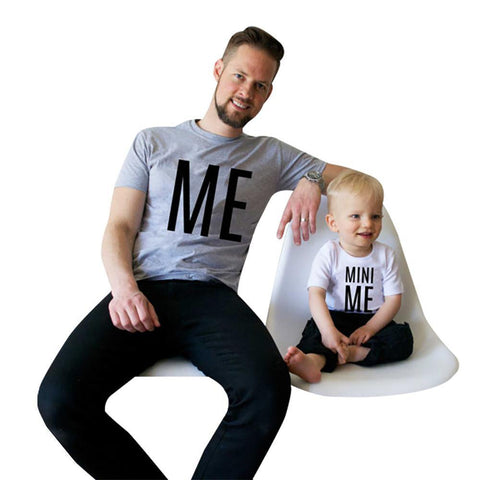 New Family Look Summer ME And MINI Pattern Men Boy T Shirt Father Son Clothes Top Tee 2017 Matching Outfits