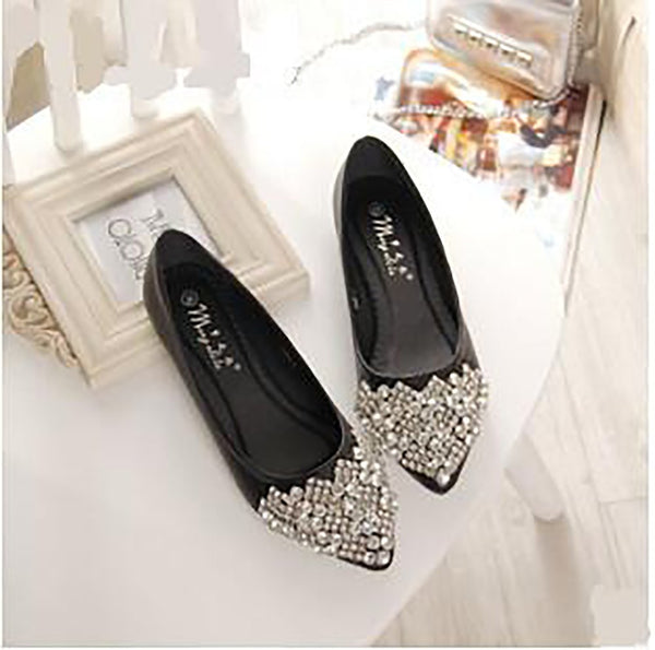 Women's Flat Shoes Ballet Princess Casual Crystal Boat Rhinestone Plus Size