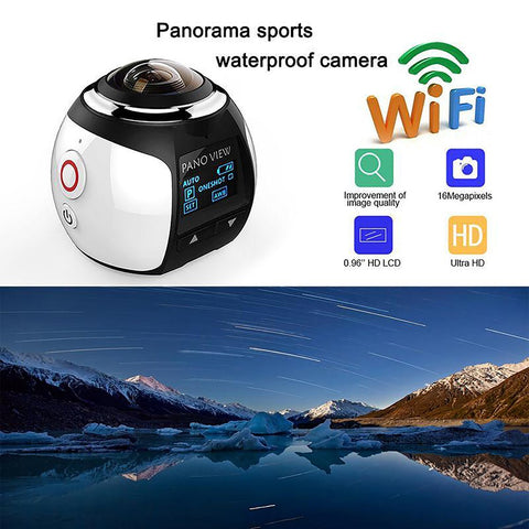 Panoramic Camera HD 360 Ultra Mini Wifi 16MP 3D Waterproof Sports Driving VR Action Video 30m
