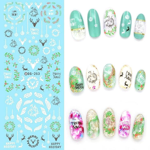 Nail Art Sticker Water Transfer Colorful Fantacy Flowers Foil Manicure