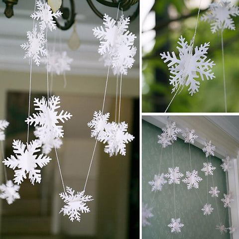 Frozen Party Supplies 3M Silver Snowflake Shape Paper Garland Christmas Wedding Decoration Scene New Year Decor