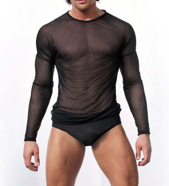 High Quality Men Long Sleeve Sexy Transparent Shirt Mesh Gauze Underwear Gay Sleepwear Free Shipping