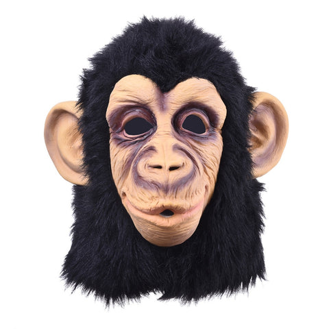 . Funny Monkey Head Latex Mask Full Face Adult Breathable Halloween Masquerade Fancy Dress Party Cosplay Looks Real
