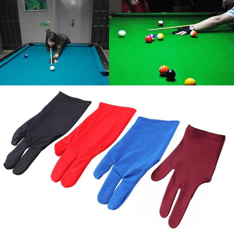1Pc 3 Fingers Durable Nylon Glove for Billiard Pool Snooker Cue Shooter Black Blue Purple Red Colors