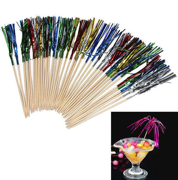 1 Pack Disposable Paper Wood Drink Cocktail Rainbow Fireworks Picks Sticks Fruit Desserts Food Forks Wedding Party Decoration