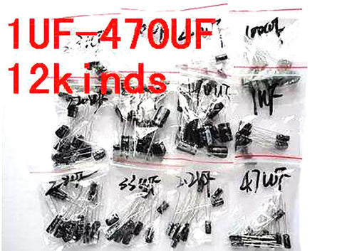 120pcs 1set of 12 Values 0.22UF-470UF Aluminum Electrolytic Capacitor Assortment Kit Set Pack Free Shipping