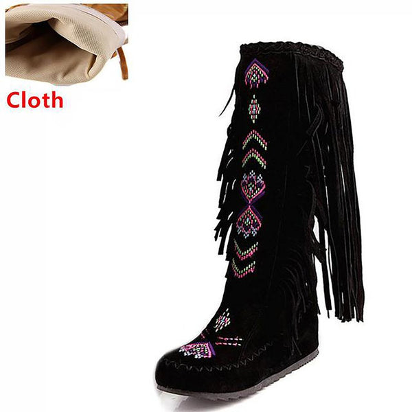 Women's Knee High Boots Flock Leather Fringe Flat Heels Chinese Nation Style Size 34-43