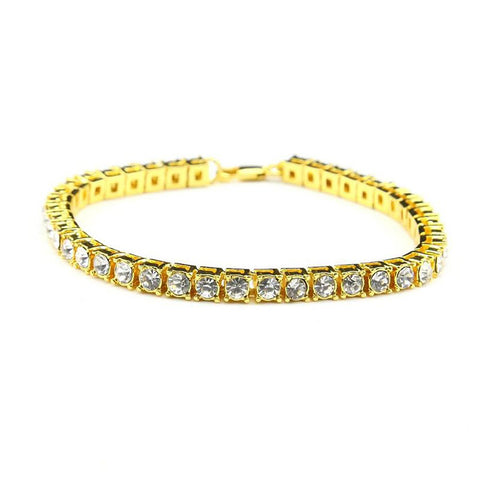 Unisex Bracelet Hip Hop Iced Out Rhinestones Row Crystal 20cm Drop