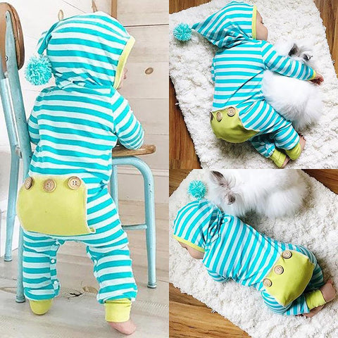 Unisex Newborn's Hooded Bodysuit Cotton