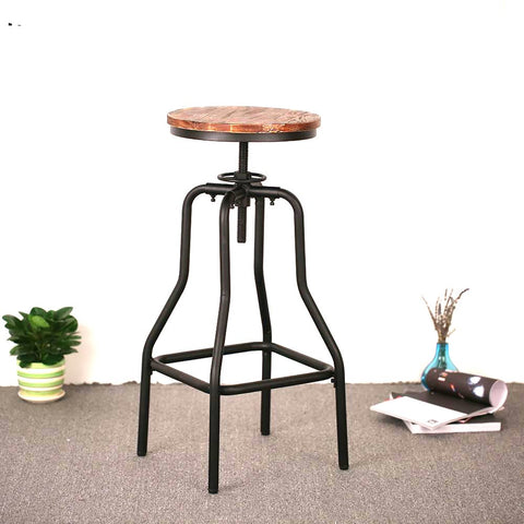 IKayaa Height Adjustable Swivel Bar Stool Natural Pinewood Top Dining Chair Industrial Style Furniture US UK FR DE Stock
