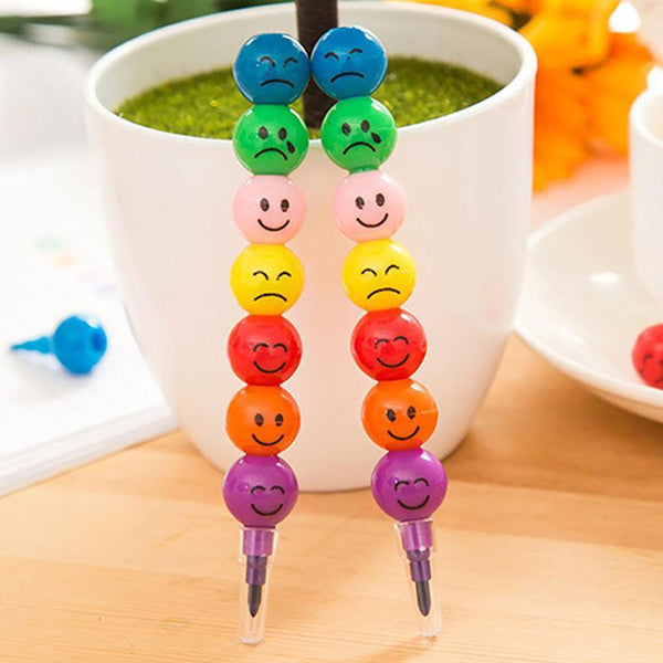 2017New 7 Colors Cute Stacker Swap Smile Face Crayons Children Drawing Gift 522