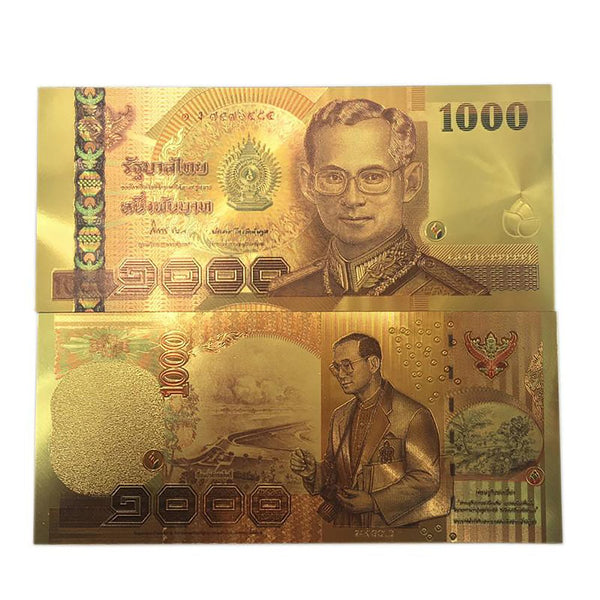 Thailand 1000 Baht Gold Foil Banknote 24K Colored Double Sided Printing Paper Money Collection