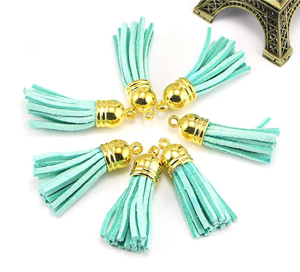 Suede Tassel Keychain Cellphone Straps Jewerly Charms Leather with Cap Craft 37mm 12pcs/lot 24pcs/lot