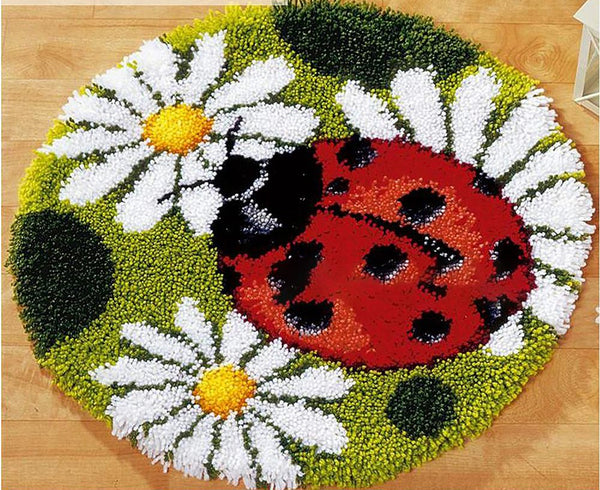 Latch Hook Rug Kits DIY Needlework Unfinished Crocheting Yarn Cushion Mat Ladybird Flowers Embroidery Carpet Free Shipping
