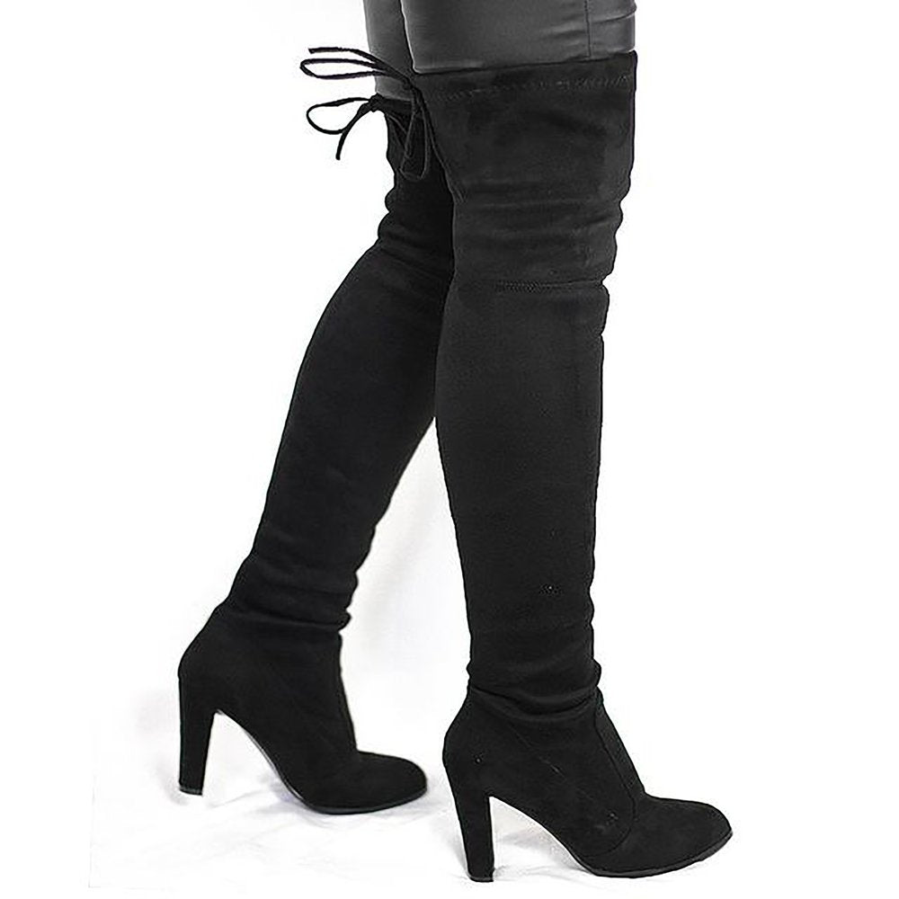 8a1ff62bceb0 Women s High Boots Over The Knees Stretch Tight Faux Suede Flock Heel. prev