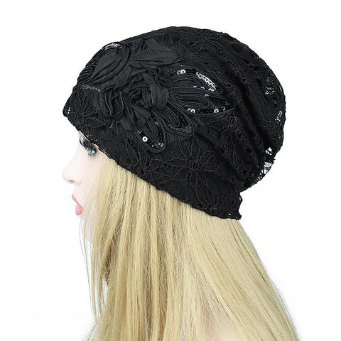 Women's Hollow Lace Flower Beanie Scarf Autumn Headwear Warm Double Layer Head Outerwear