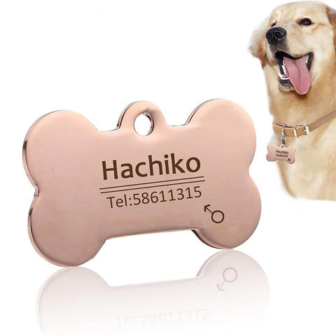 Pet's Collar Stainless Steel Tag Engraving ID Name Telephone Personalized