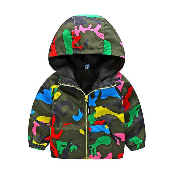 Unisex Kid's Hooded Jacket Camouflage Long Sleeve Windbreaker Spring Autumn