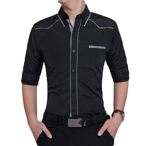 Brand 2017 Fashion Male Shirt Long-Sleeves Tops Oversize British Style Casual Mens Dress Shirts Slim Men XXXL 5070
