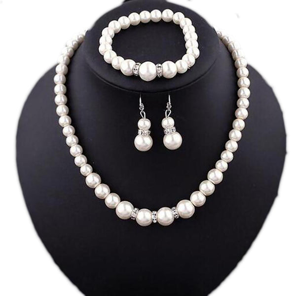 Jewerly Set Classic Imitation Pearl Silver Plated Clear Crystal Party Gift