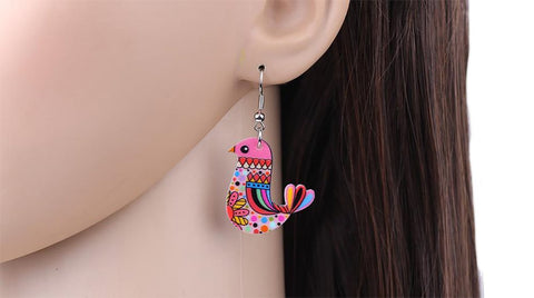 Women's Acrylic Bohemian Dangling Earrings Bird Design Cartoon Jewelry