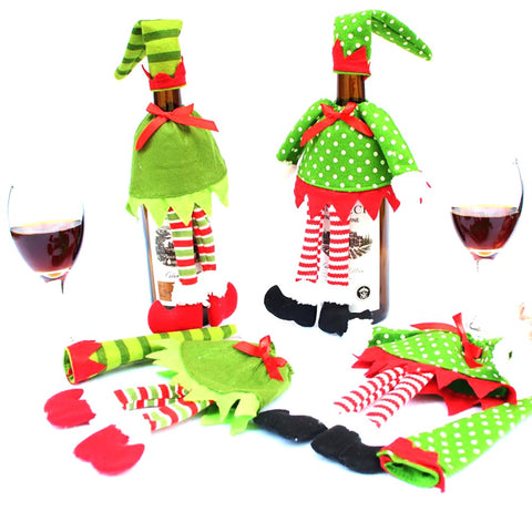 Wine Bottle Cover Bag Polka Dot Tripe for Christmas Home Party Decor Supplies