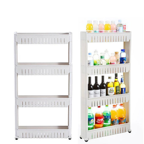 Multipurpose Shelf Storage with Removable Wheels Multi Layer for Bathroom Refrigerator Side