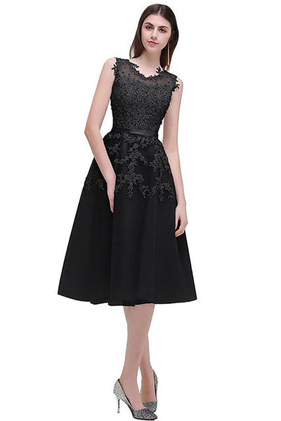 Women's Knee Lenght Dress Beaded Lace Appliques Gala Party Prom Homecoming