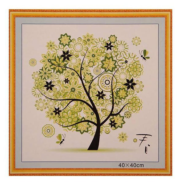 Counted Cross Stitch Paintings Four Season Tree Patterns Embroidery Needlework Picture Home Decoration