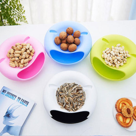 New Creative Double Layer Tray Candy Snacks Containers Dry Fruit Melon Seeds Storage Trays Box Plate Dish With Phone Holder
