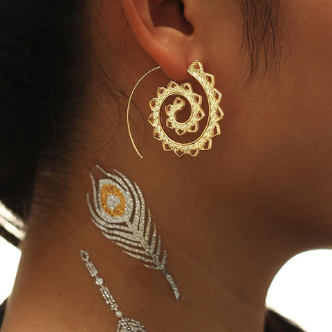Women's 2 Color Hoop Earrings Geometric Swirl Design