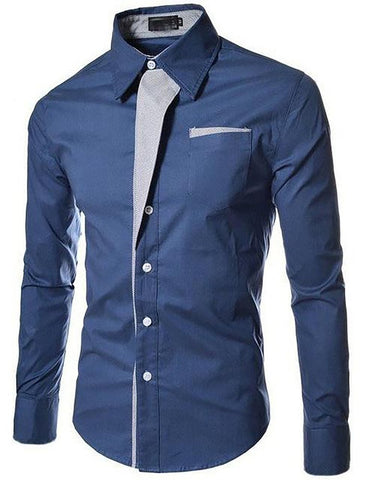 Men's Tuxedo Shirt Striped Casual Office Slim Fit Long Sleeved