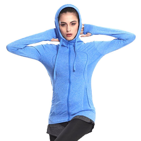 Women's Hooded Jacket Breathable Long Sleeve Fitness Zipper Sweat Quick-dry Plus Size for Running Yoga Fitness Sport Outwear