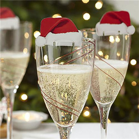 Santa Hat Wine Glass Decoration Table Palce Cards Christmas 10pcs/set
