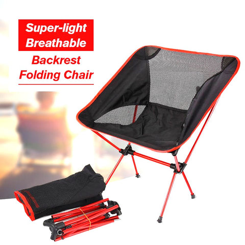 Portable Folding Chair Beach Seat Lightweight For Hiking Fishing Picnic Barbecue Vocation Casual Camping Red