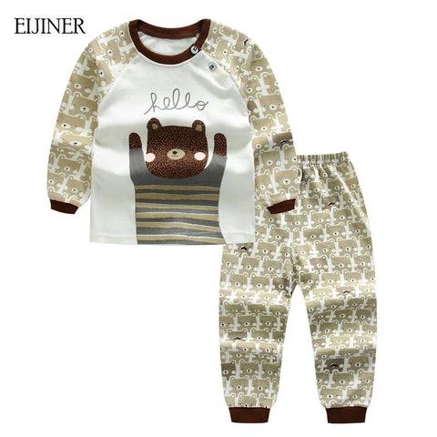 Baby Boy Clothes Summer 2016 Newborn Boys Set Cotton Clothing Suit (Shirt+Pants) Plaid Infant