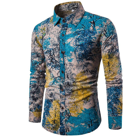 Men's Flax Shirt Slim Fit Turn-down Collar Long Sleeve Hawaiian Big Size