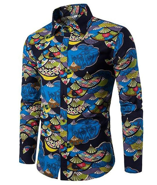 T-Bird Brand-Clothing 2017 Fashion Shirt Male Flax Dress Shirts Slim Fit Turn-Down Men Long Sleeve Mens Hawaiian Big Sizes